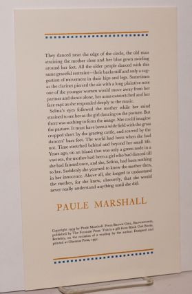 Excerpted passage from Brown girl,l Brownstones; broadside. Paule Marshall