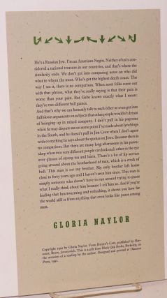 Excerpted passage from Bailey's Cafe; broadside. Gloria Naylor
