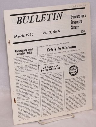 SDS bulletin -- vol. 3, No. 6, March, 1965. Students for a. Democratic Society