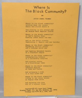 Where is the Black Community? Joyce Carol Thomas