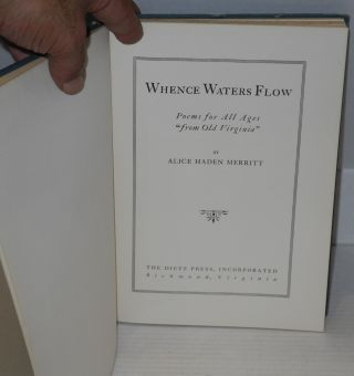 "Whence waters flow; poems for all ages ""from old Virginia"""