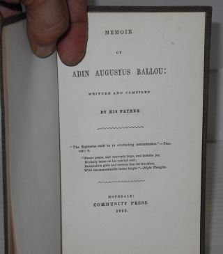 Memoir of Adin Augustus Ballou; written and compiled by his father