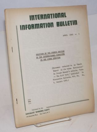 Position of the French Section of the International Committee on the Cuban question. (Document...