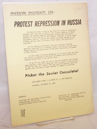 American dissidents say: Protest repression in Russia [handbill