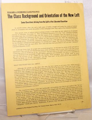 The class background and orientation of the new left. Some questions arising from the split at...