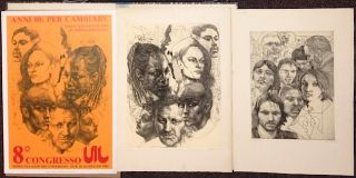 [Two etchings and poster for 8th Congresso UIL]. Ugo Attardi.