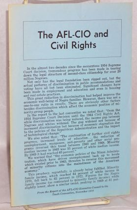 The AFL-CIO and civil rights. Report of the AFL-CIO Executive Council and the resolutions adopted...