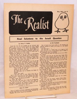 The realist [no.79] May, 1968. Final solutions to the Israeli question. Paul Krassner