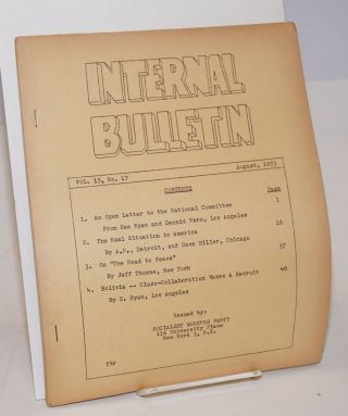 Internal bulletin, vol. 15, no. 17. August, 1953. Socialist Workers Party