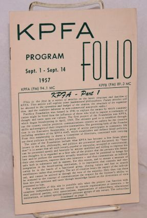KPFA Folio: vol. 8, no. 12; program Sept. 1 - Sept. 14 1957 / KPFA (FM) 94.1 MC / KPFB (FM) 89.3 MC