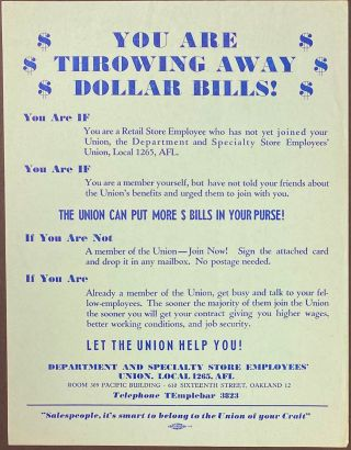 You Are Throwing Away Dollar Bills! [handbill]. Department, Specialty Store Employees' Union...