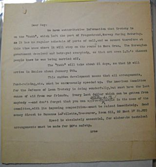 Typed letter on Trotsky's unexpected deportation from Norway to Mexico aboard the tanker Ruth]....