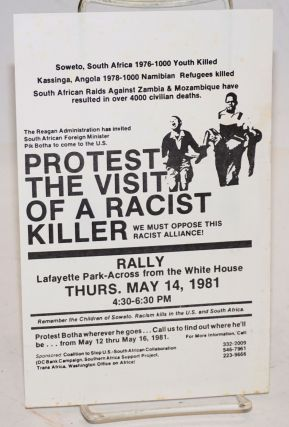 Protest the visit of a racist killer [handbill]. Coalition to Stop US-South African Collaboration