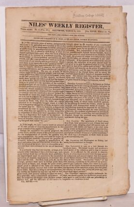 Niles' Weekly Register. The Past--The Present--For The Future. Baltimore, March 19, 1825. [Third...