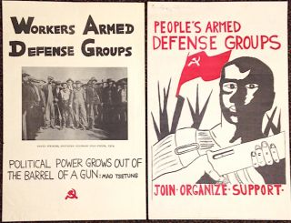 Workers armed defense groups [together with] People's armed defense groups [two posters]....
