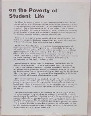 On the poverty of student life [handbill
