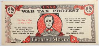 War Tax Protest / Thoreau Money [imitation currency]. War Resisters League Committee for...