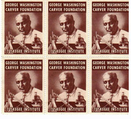 George Washington Carver Foundation / Tuskegee Institute [six perforated stamps