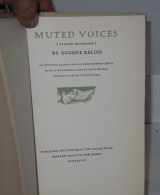 Muted voices [Glasuri in Surdina]. Authorized translation by Rose Freeman-Ishill with 34 Wood engravings by Louis Moreau, introductory by Stefan Zweig