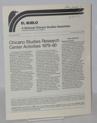 El Mirlo: Chicano Studies Research Center Newsletter, University of California, Los Angeles, vol....