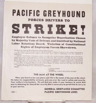 Pacific Greyhound forces drivers to strike! [handbill