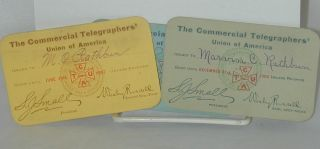 Three union cards. Commercial Telegraphers' Union of America