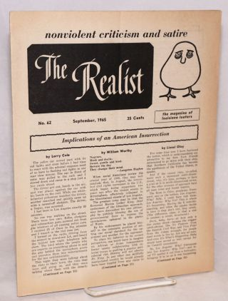 The Realist [no.62], Nonviolent Criticism and Satire. September 1965. The magazine of Louisiana...