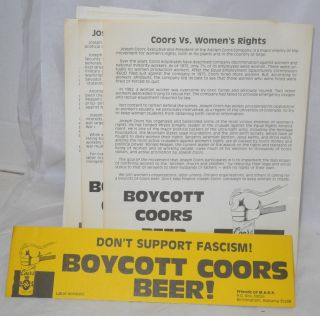 Eight Coors boycott items. Friends of M. A. R. K