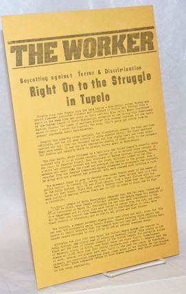 Boycotting against terror and discrimination: Right On to the struggle in Tupelo [handbill]....
