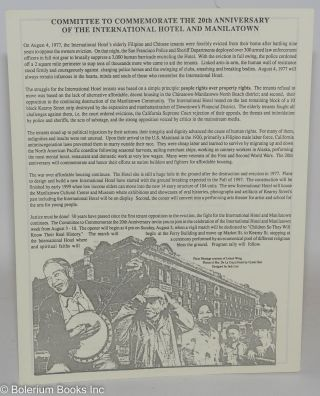 Committee to Commemorate the 20th Anniversary of the International Hotel and Manilatown [handbill
