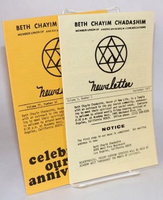 Beth Chayim Chadashim newsletter: two issues, vol. iv, number 12, June 1977 and vol. v, number 3,...