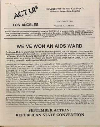 ACT UP Los Angeles: Newsletter of the Aids Coalition to Unleash Power / Los Angeles vol. 1, ...