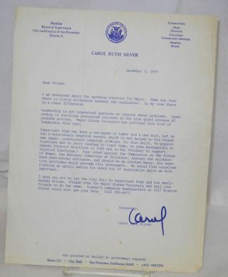 Letter in support of Dianne Feinstein's run for Mayor December 3, 1979. Carol Ruth Silver