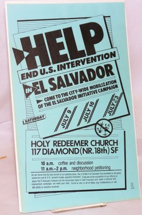 Help end US intervention in El Salvador: come to the city-wide mobilization of the El Salvador...