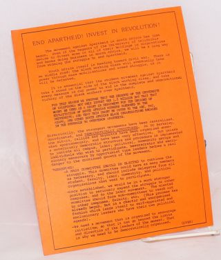 [Four handbills related to efforts to get the University of California to divest from South Africa]