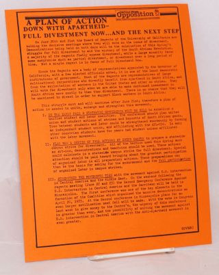 A plan of action: Down with Apartheid - full divestment now... and the next step [handbill]....