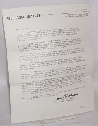 An invitation to join the Free Asia League...