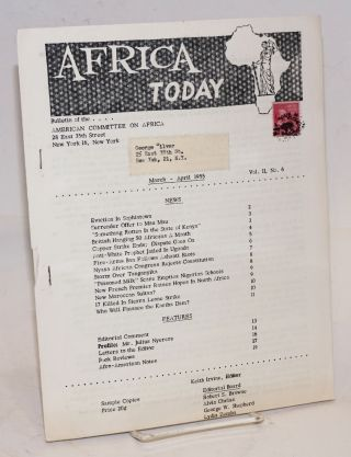Africa today: bulletin of the American Committee on Africa; vol. II, no. 6; March-April 1955....