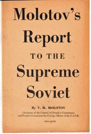 Report to the Supreme Soviet of the U.S.S.R.