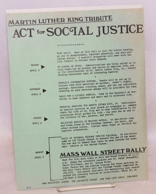 Martin Luther King tribute: Act for social justice [handbill