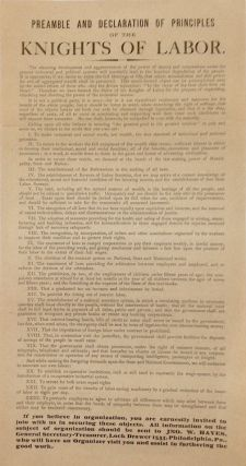 Preamble and declaration of principles of the Knights of Labor [handbill]. Knights of Labor.