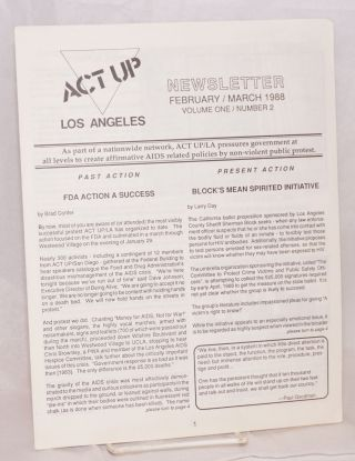 ACT UP / Los Angeles: Newsletter of the Aids Coalition to Unleash Power / Los Angeles; vol. 1,...