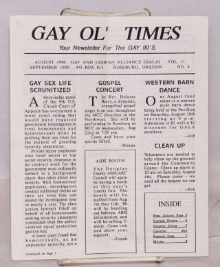 Gay Ol' Times: Gay and Lesbian Alliance newsletter; vol. 11, no. 4, August/September 1990