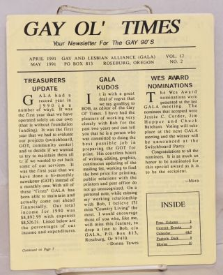 Gay Ol' Times: Gay and Lesbian Alliance newsletter; vol. 12, no. 2, April/May 1991