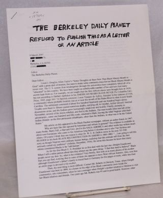 The Berkeley Daily Planet refused to publish this as a letter or an article. Tom Sanders