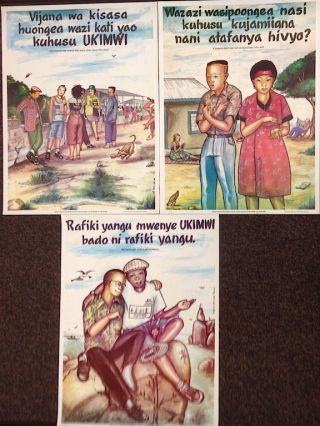 Three AIDS education posters targeting Tanzanian youth]. Marco Tibasima, artist