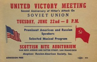United Victory Meeting. Second anniversary of Hitler's attack on Soviet Union... Prominent...