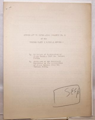 Supplement to Information Bulletin no. 8 of the Workers Party (National Office). James Burnham
