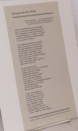 Homage to the New World [small poem broadside]. Michael S. Harper