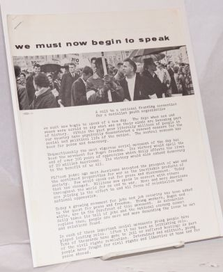 We must now begin to speak: A call to a national founding convention for a socialist youth...